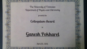 Ganesh was recognized for his exemplary participation in the department's colloquium series.